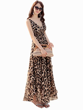 Bohemian Chiffon Leopard Maxi Dress