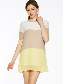Color Block Joint Womens Day Dress