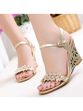 Hollow Out Rhinestone Ankle Strap Wedge Sandals