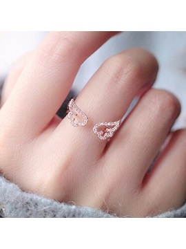Hollow Out Angel Wings With Rhinestone Opening Ring