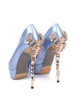 Peal Shiny Peep Toe Platform Pumps