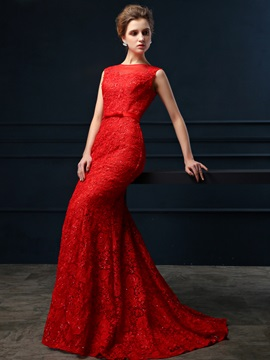 Glamorous Bateau Neck Lace Beading Bowknot Zipper Up Court Train Long Evening Dress