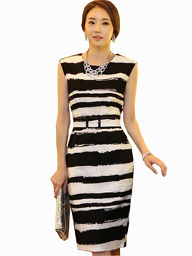 European Style Stripe Belted Dress