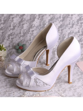 Pretty Bowknot Peep Toe High Heel White Wedding Shoes