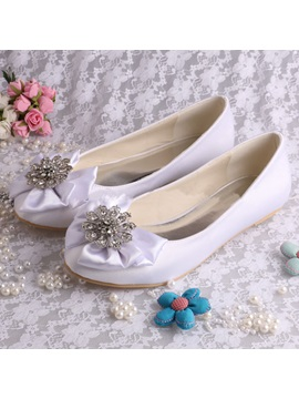 Elegant Round Toe Rhinestone Bowtie Flat Wedding Shoes