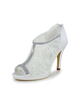 High Heel Peep Toe Lace Zipper Up Wedding Shoes