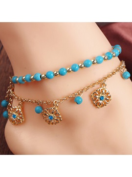 Double Deck Turquoise Decorated With Floral Pendant Anklet