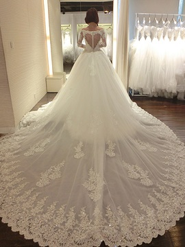 Floor Length A Line Beaded Lace Sweetheart Long Sleeve Cathedral Wedding Dress