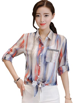 Chiffon Mixed Stripe Roll Up Sleeve Work Blouse