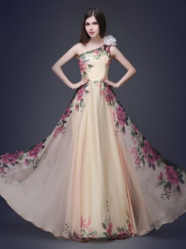 Pretty One Shoulder Floral Printed Flower Long Prom Dress