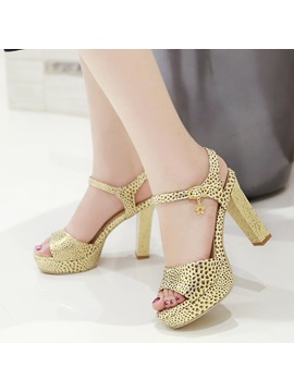 Snake Printing Two Piece Heel Sandals