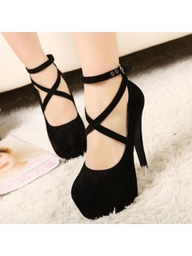 Solid Color Platform Cross Straps Heel Sandals