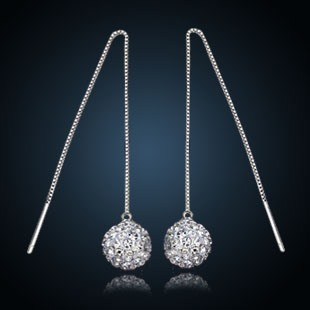 Classic 925 Silver Ear Line Rhinestone Earrings