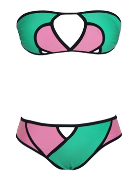 Chic Polyester Color Block Hole Designed Bandeau Bikini Set