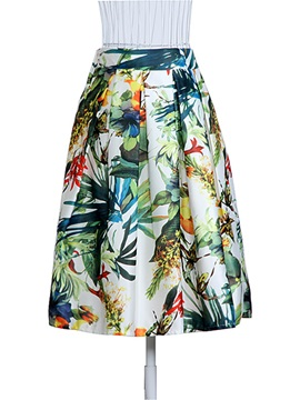 Floral Print High Waist Ball Gown Womens Skirt