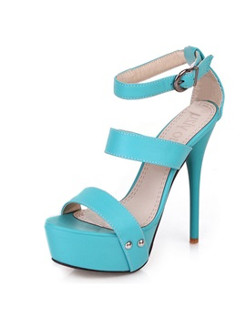 Simple Bright Color Platform Stiletto Sandals