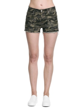 Simple Cotton Camouflage Womens Short