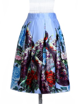 European Printing Pleated Skirt