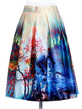 Printing High Waist Ball Gown Skirt