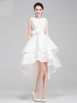 Short Front Long Back A Line Tiered Asymmetry High Low Beach Wedding Dress