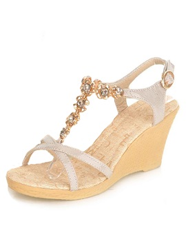 Sweet Rhinestone With Chain Wedge Sandals