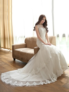 Beaded Lace Appliques Mermaid Wedding Dress