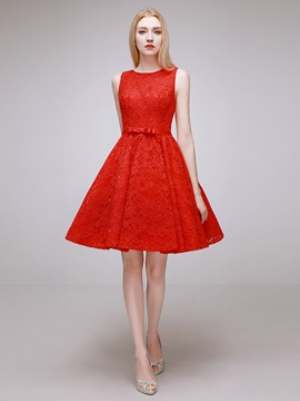 Amazing Scoop Neck Bowknot A Line Knee Length Lace Homecoming Dress