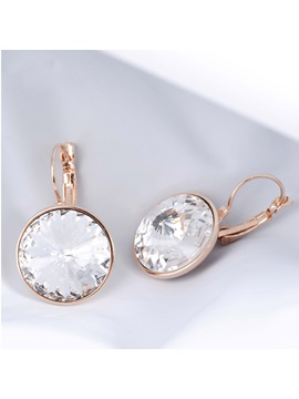 Round Crystal Flower Carved Alloy Women Earrings
