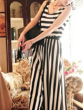Elegant Stripe Printed Wide Leg Lace Up Jumpsuit
