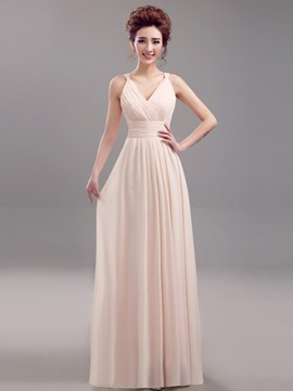Floor Length A Line Spaghetti Straps V Neck Bridesmaid Dress
