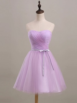 Knee Length A Line Strapless Ruched Sweetheart Purple Short Bridesmaid Dress