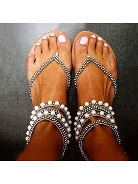 Luxurious Beads Ankle Straps Thong Sandals