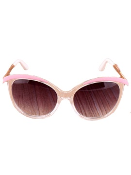 Elegant Oval Frame Metal And Plastic Sunglasses