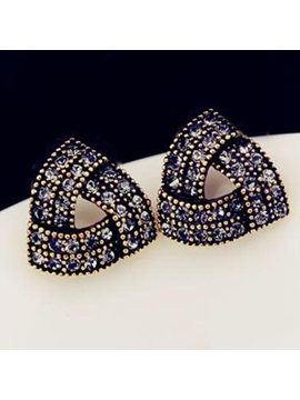 Geometrical Design Rhinestone Decorated Earrings