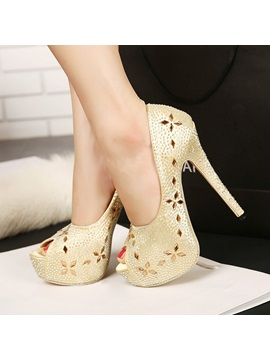 Rhinestone Rivet Flower Peep Toe Pumps