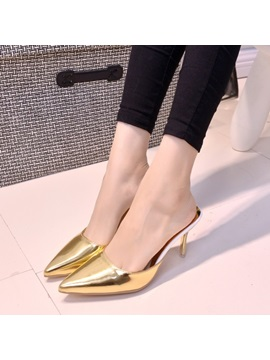 Metallic Upper Pointed Toe Heel Flip Flop