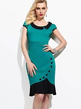 Peter Pan Collar Cap Sleeve Mermaid Womens Bodycon Dress