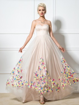 Pretty Sweetheart A Line Appliques Long Tulle Evening Dress