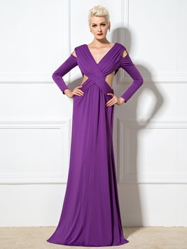 Sexy V Neck A Line Hollow Split Long Sleeves Long Evening Dress