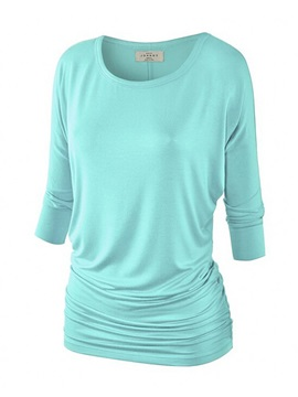 Pure Color 3 4 Sleeves T Shirt