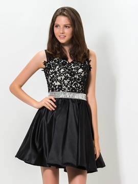 Stunning V Neck Embroidery Lace Sequined Short Black Homecoming Dress