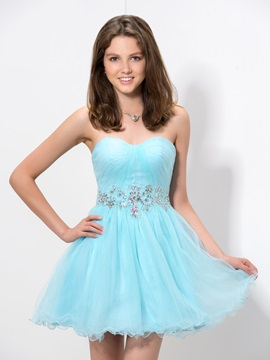 Modern Sweetheart Beaded Short Homecoming Dress