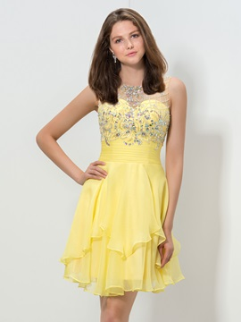 Beaded Tiered Short Daffodil Homecoming Dress