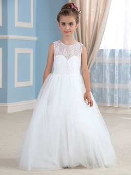 Elegant Lace Top Open Back Ivory Princess Ball Gown Flower Girl Dress