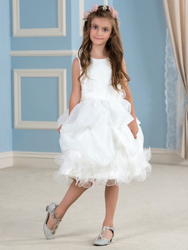 Adorable Lace Top Ruffles Organza Ivory Flower Girl Dress