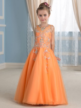 Discount Rhinestone Beaded Orange Tulle Flower Girl Dress
