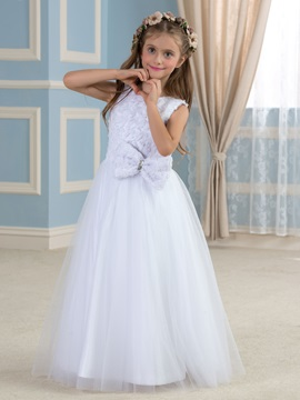 Elegant Floral Bodice Tulle Overlay White Flower Girl Dress