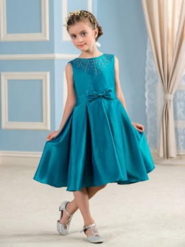 Cheap Beaded Hunter Blue Flower Girl Dress For Less