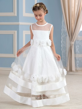 Cute Floor Length A Line Floral Tiered Flower Girl Dress