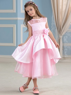 Adorable Tea Length A Line Beaded Tiered Satin Pink Flower Girl Dress